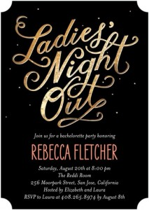 Bachelorette Party Invites from Wedding Paper Divas