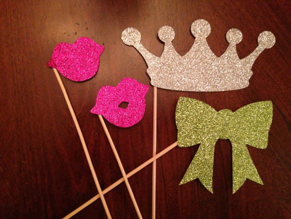 Glitter Photo Booth Props, Pretty Collected, $13