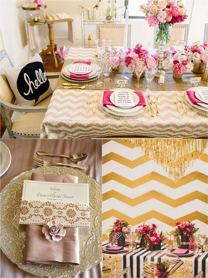 Decor Ideas For A Pink Gold Bridal Shower Trueblu