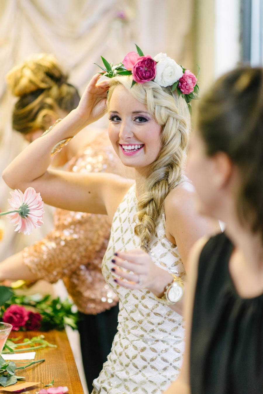 Fun Bachelorette Party Flower Crown Class
