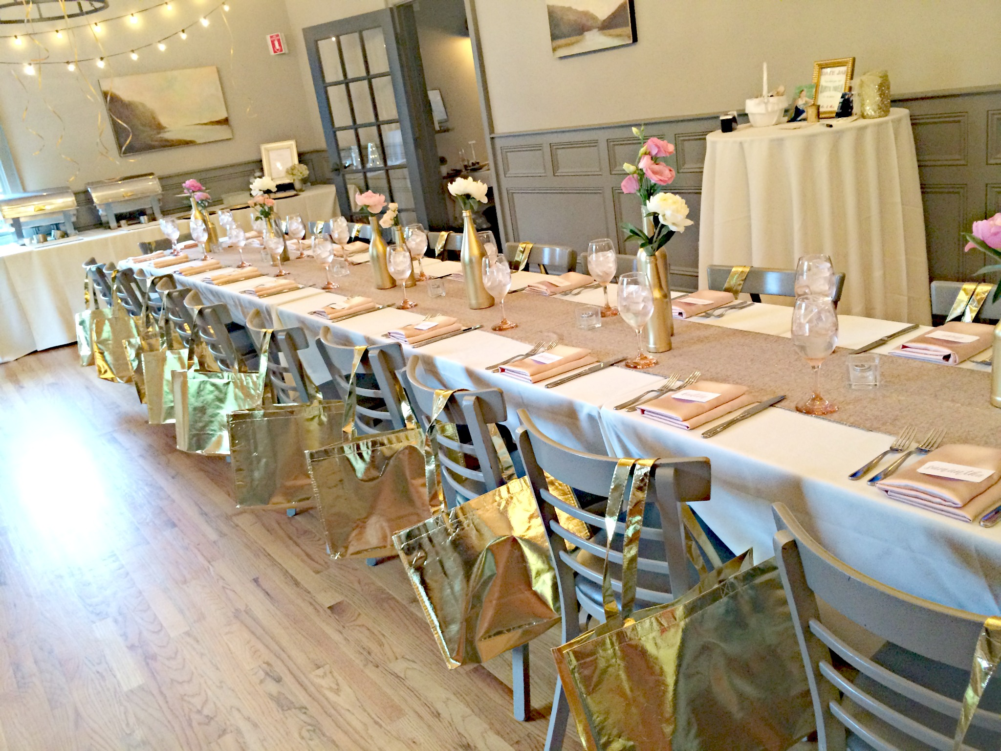pink and gold bridal shower