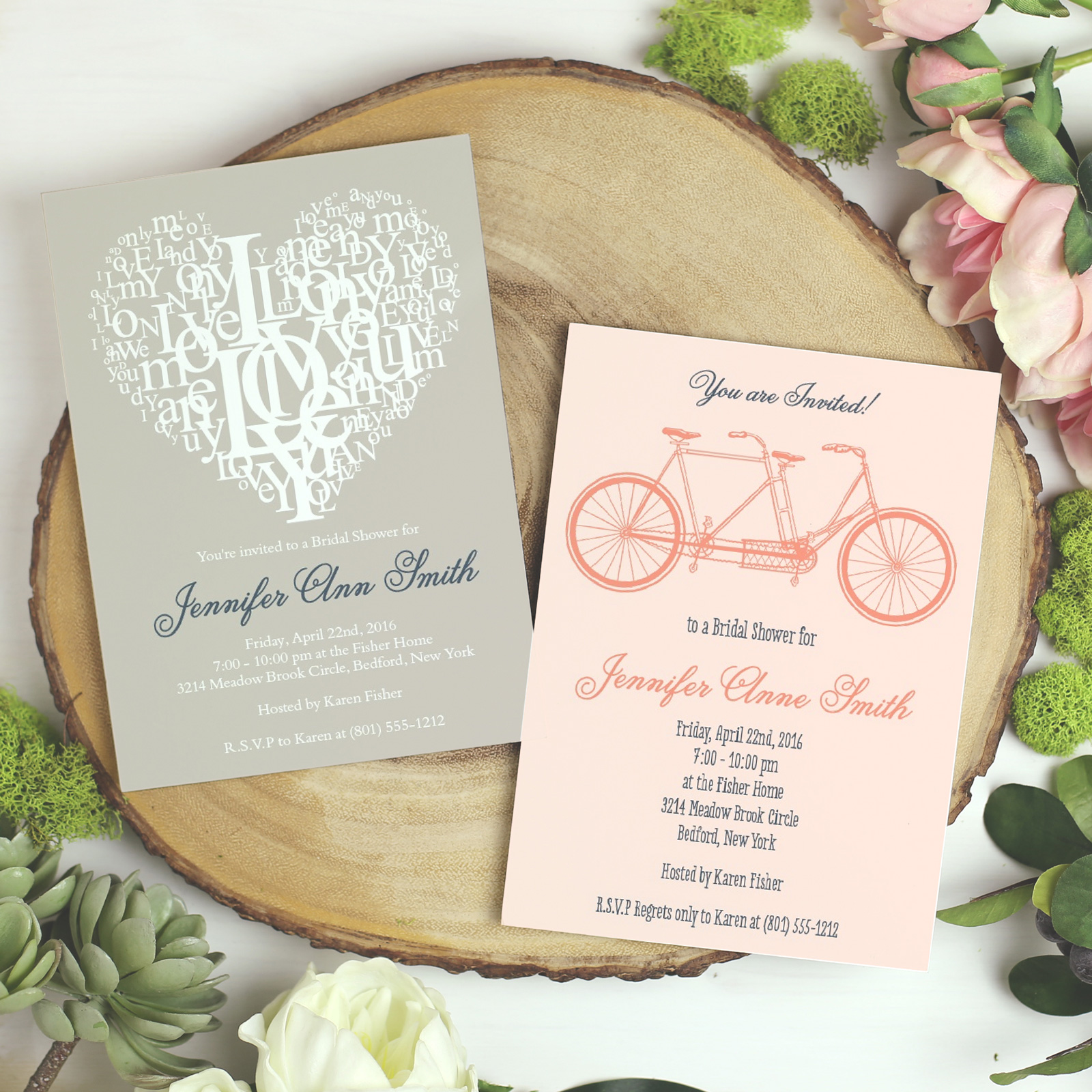 Basic Invite bridal shower and wedding invitations