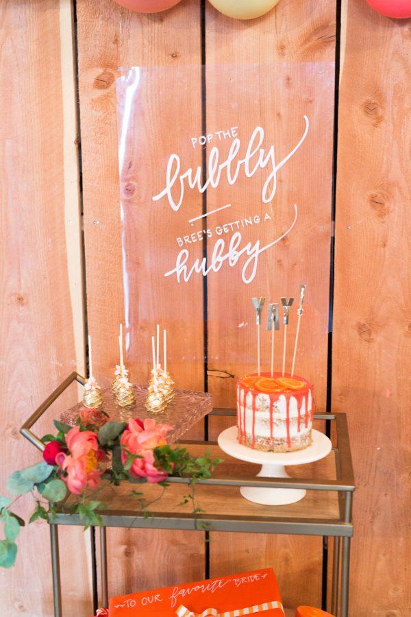 acrylic bridal shower sign idea