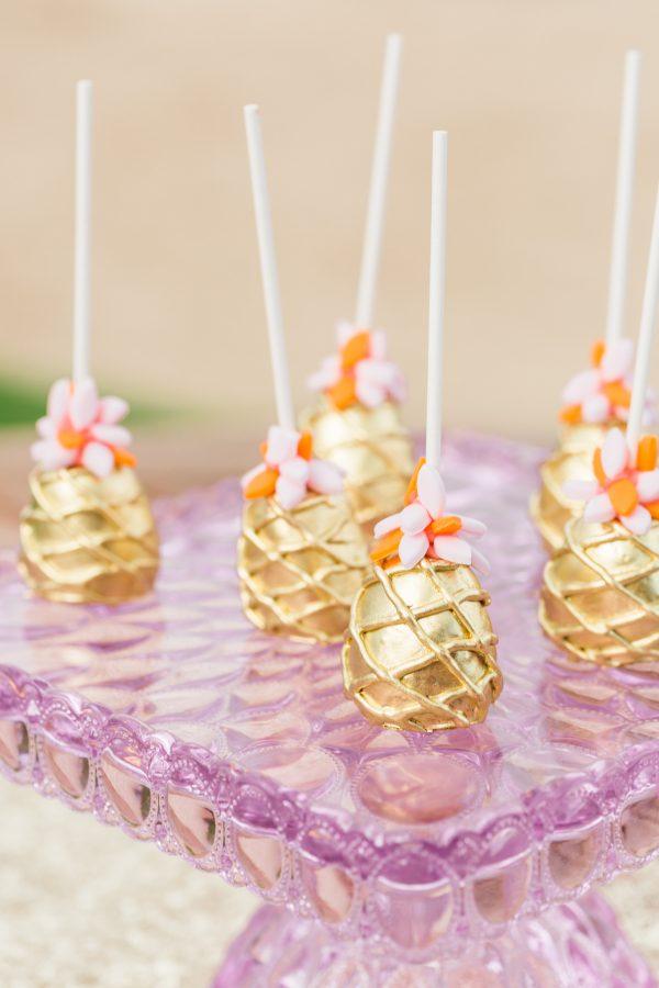 gold pineapple cake pops